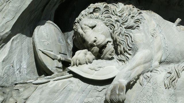 Le 10 août 2021 marque le 200e anniversaire de l'inauguration du Lion de Lucerne, l'un des monuments les plus célèbres de Suisse. [Urs Flueeler  - Keystone]