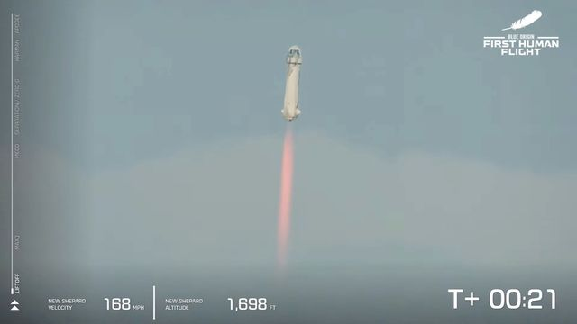 La fusée Blue Origin a emmené Jeff Bezos dans l'espace. [EPA/BLUE ORIGIN - Keystone]