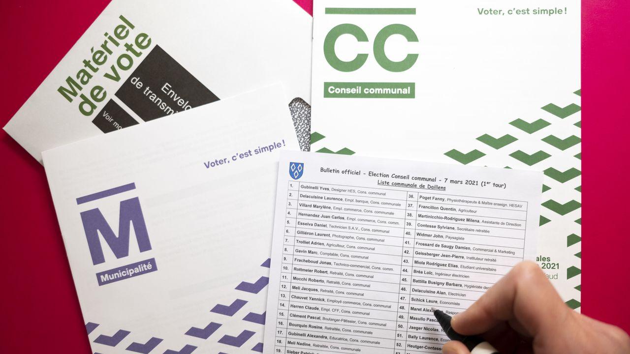 Bulletin de vote de la liste du conseil communal à Daillens lors du premier tour des élections générales communales. [Laurent Gillieron - KEYSTONE]
