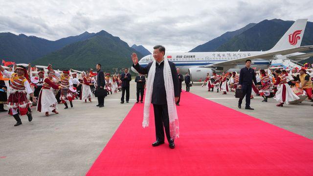 Xi Jinping à son arrivée à Nyingchi, au Tibet, mercredi 21.07.2021. [Li Xueren - Xinhua/AFP]