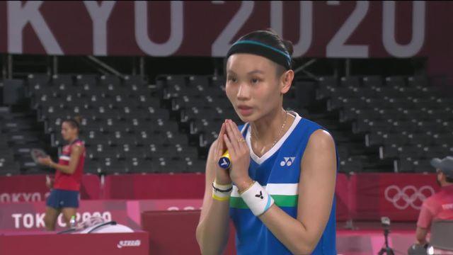 1er tour dames, T.-Y Tai (TPE) - S. Jaquet (SUI) (21-7, 21-13): défaite en deux manches de la Suissesse diminuée par une blessure [RTS]