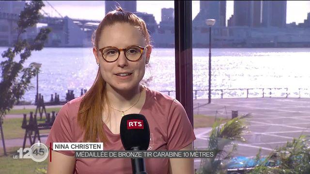 Une médaille de bronze pour Nina Christen. C'est la première de la délégation suisse aux Jeux Olympiques de Tokyo [RTS]