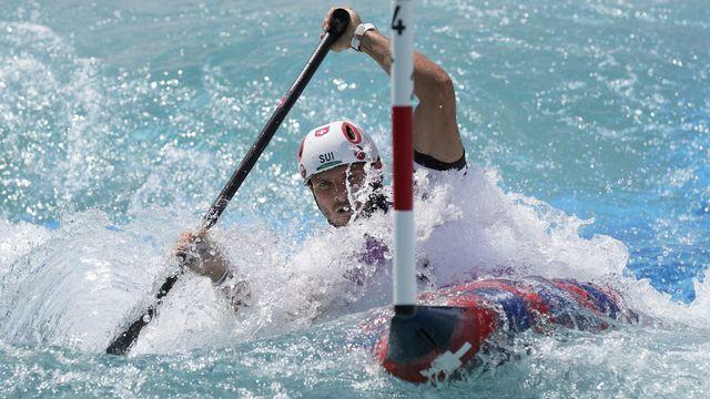 Thomas Koechlin a manqué de peu la finale du slalom en canadien mono. [Kirsty Wigglesworth - Keystone]