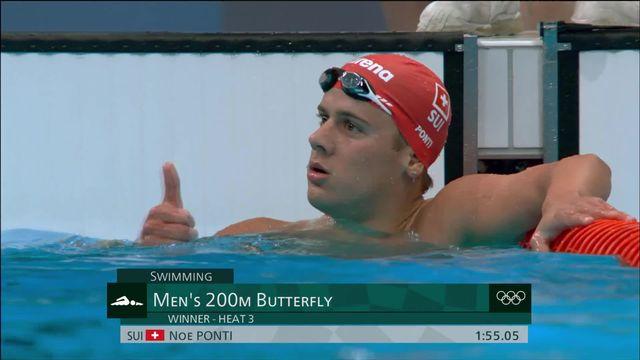 Natation, 200m papillon messieurs, qualifications: Noé Ponti (SUI) établit un nouveau record de Suisse ! [RTS]