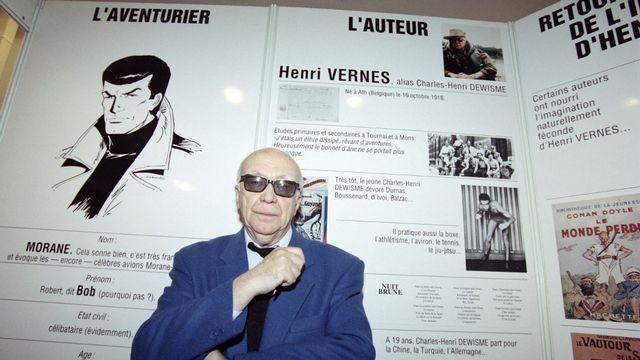 Auteur de romans d'action et de science-fiction, père de Bob Morane, le belge Henri Vernes est décédé à l'âge de 102 ans, le 25 juillet 2021. [Pierre Verdy - AFP]
