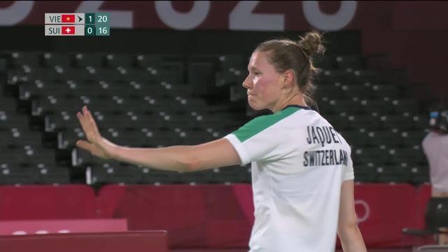 Badminton, phase préliminaire dames: Sabrina Jaquet (SUI) s'incline lors du dernier match olympique de sa très belle carrière [RTS]