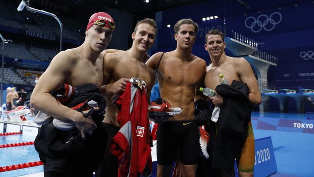 Roman Mityukov, Antonio Djakovic, Noè Ponti et Nils Liess ont réalisé une superbe performance en finale du 4x200m nage libre. [Patrick B. Kraemer - Keystone]