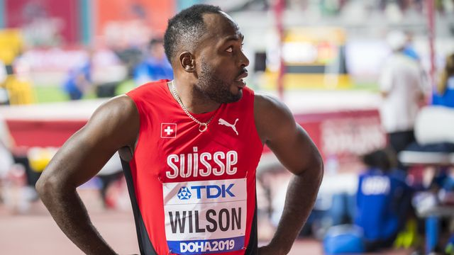 Alex Wilson lors des séries qualificatives aux Championnats du Monde de Doha. [Jean-Christophe Bott - Keystone]