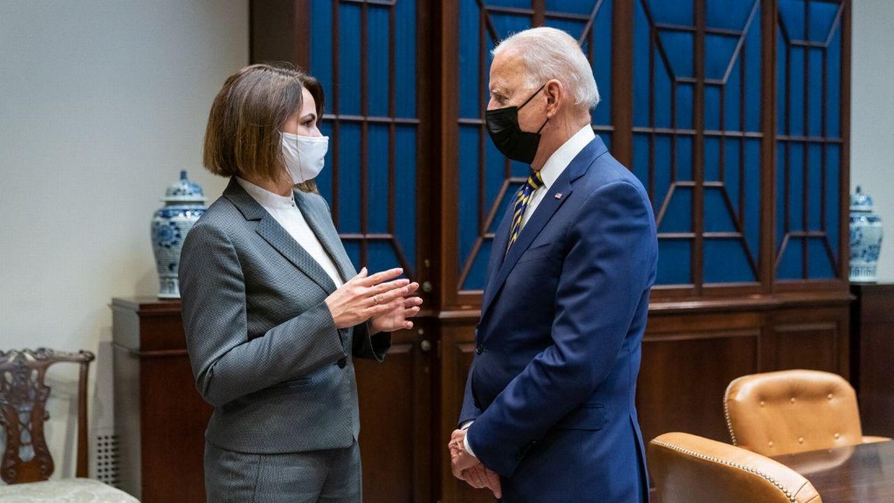 Joe Biden a reçu mercredi à la Maison Blanche Svetlana Tikhanovskaïa. [The White House - AFP]