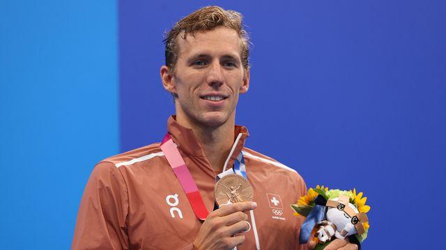 Le Genevois Jérémy Desplanches a décroché une magnifique médaille de bronze en 200m 4 nages aux JO de Tokyo. [Marko Djurica - Reuters]