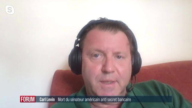 Décès de Carl Levin, le sénateur américain anti-secret bancaire: interview de Carlo Lombardini [RTS]