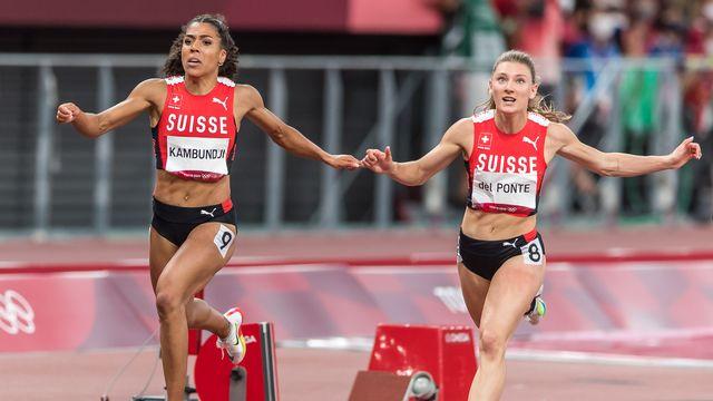 Mujinga Kambundji et Ajla Del Ponte, superbes sur ce 100 m. [Ulf Schiller - Keystone]