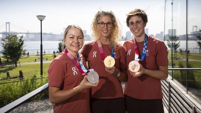 Les sportives helvétiques impressionnent à l'image des trois médailles remportées en VTT. [Peter Klaunzer - Keystone]
