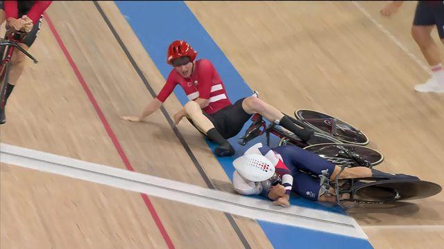 Cyclisme sur piste, poursuite par équipe: Grosse chute lors de la course entre le Danemark et la Grande-Bretagne ! [RTS]