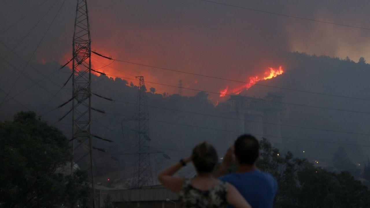 Les flammes s'approchent de la centrale thermique de Kemerkoy, qui a dû être évacuée. [Ali Riza Akkir - Anadolu Agency via AFP]