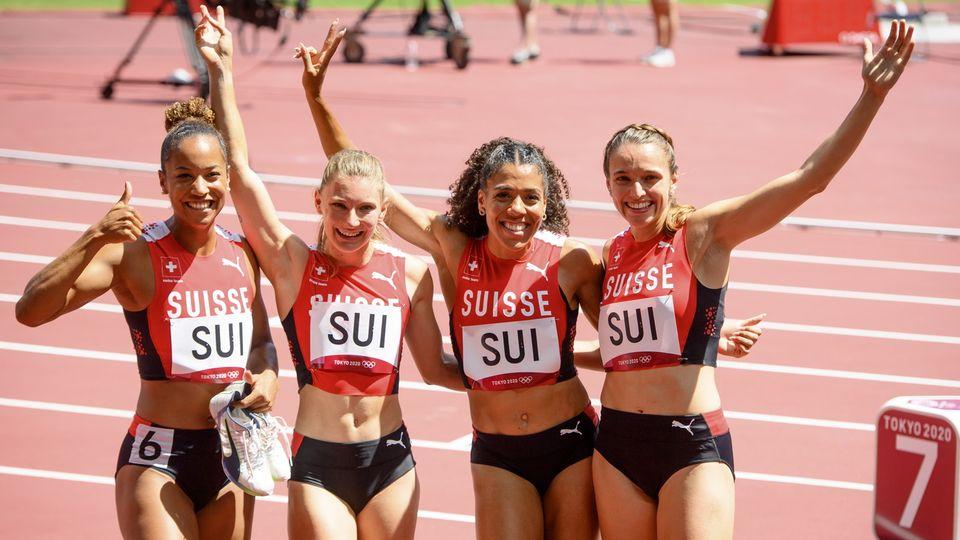 Le relais 4x100m suisse s'est brillamment qualifié pour la finale. [Laurent Gillieron - Keystone]
