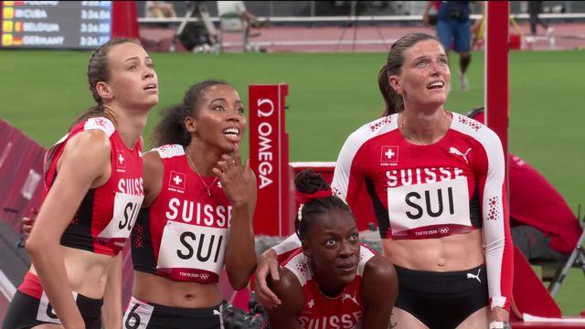 Athlétisme, 4x400m dames: 6e de sa série, le relais suisse bat le record national (3:25.90)! [RTS]