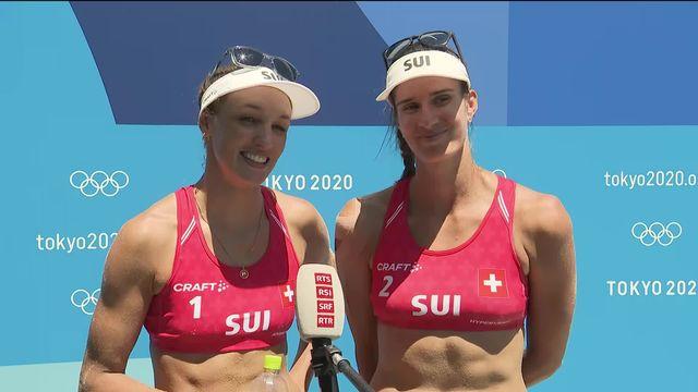 Beachvolley, cérémonie des médailles: interview des Suissesses après leur victoire en petite finale [RTS]