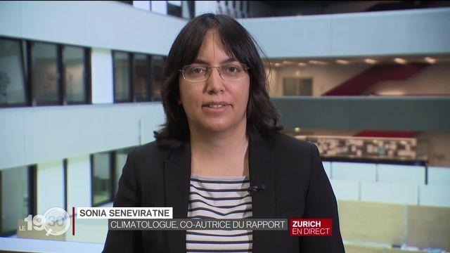 """Sonia Senerivatne: """"Les événements extrêmes augmentent partout dans le monde, le message est clair."""" [RTS]"""