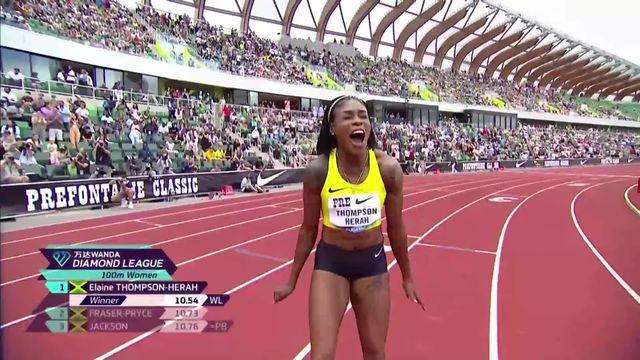 Eugene (USA), 100m dames : Mujinga Kambundji (SUI) 7e en 10.96, victoire d'Elaine Thomson-Herrah (JAM) [RTS]