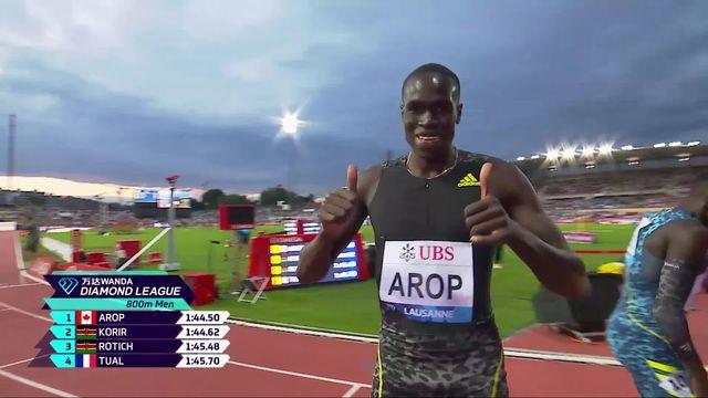 Athletissima, 800m messieurs: victoire de Marco Arop (CAN) devant le champion olympique Korir (KEN) [RTS]