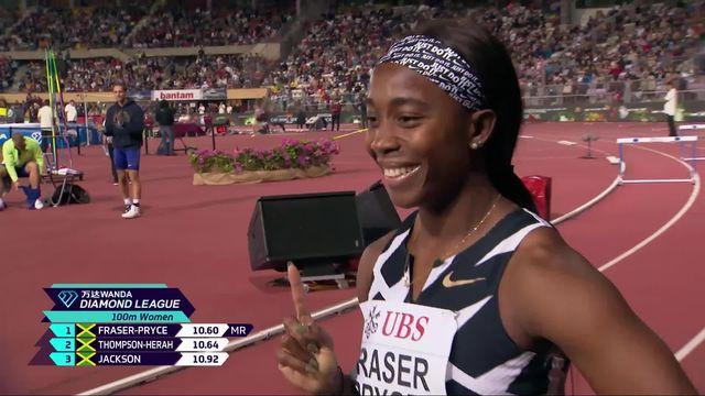 Athletissima, 100m dames: la victoire de Fraser-Pryce (JAM), Del Ponte (SUI) et Kambundji (SUI) 6e et 7e [RTS]