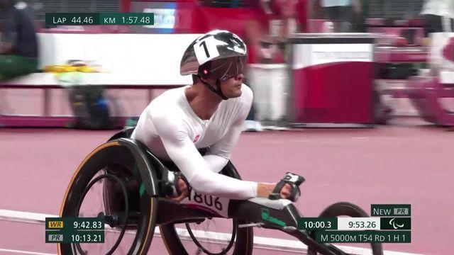 Paralympiques, athlétisme, 5000m T54: record paralympique pour Marcel Hug (SUI) qui se qualifie pour la finale en première place! [RTS]