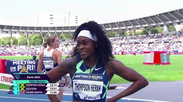 Paris (FRA), 100m dames : Mujinga Kambundji (SUI) 5e, victoire d'Elaine Thompson-Herrah (JAM) [RTS]