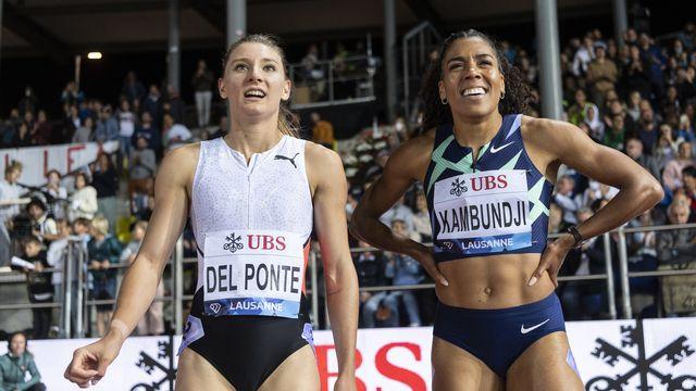 Del Ponte et Kambundji, ici à Athletissima, n'ont pas réussi à se hisser sur le podium à Paris. [Jean-Christophe Bott - Keystone]