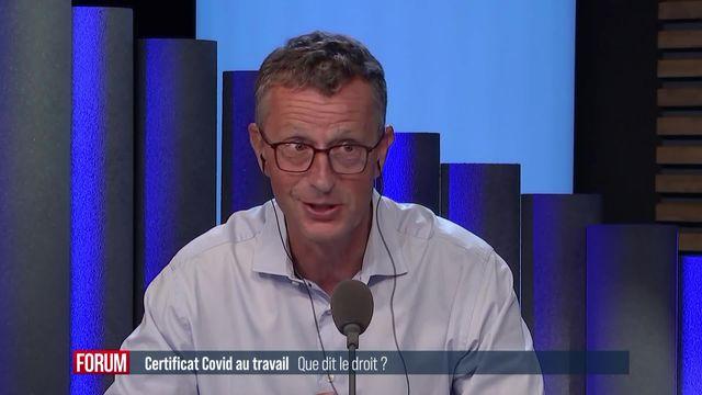 Certificat Covid au travail, que dit le droit? Interview de Rémy Wyler [RTS]