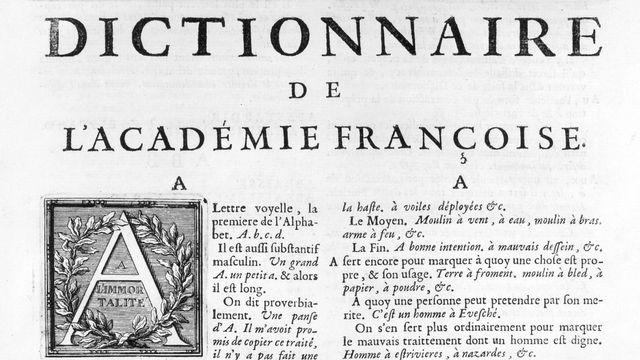 Tribu 30.08.21: La langue française en péril? - Page du dictionnaire de l'académie française. [Leemage - AFP]