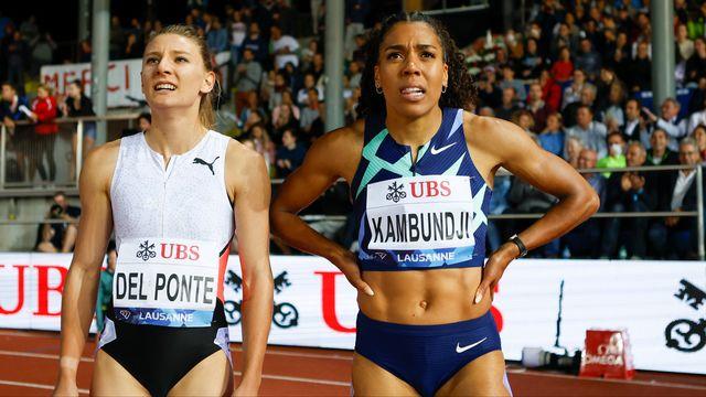 Ajla Del Ponte (à gauche) en compagnie de Mujinga Kambundji à Lausanne le 26 août. [Marc Schumacher - Freshfocus]