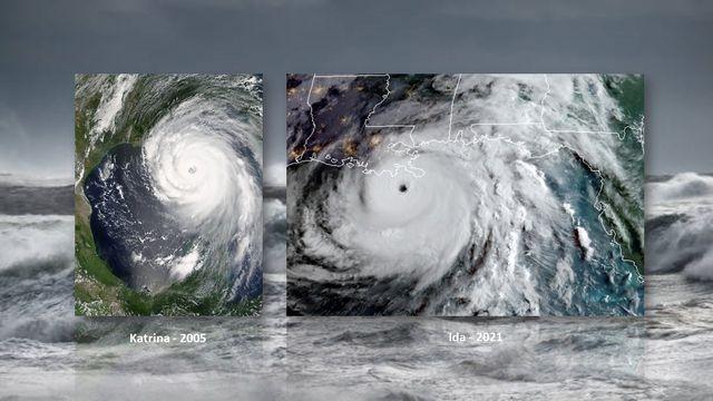 Images satellite de Katrina (août 2005) et d'Ida (août 2021) [NASA/NOAA]