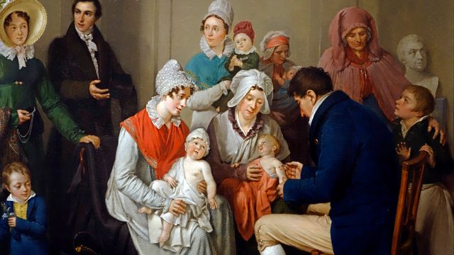 Une oeuvre du 19e siècle représentant la variolisation de plusieurs enfants. [Philippe Clément - Belga Mag via AFP]