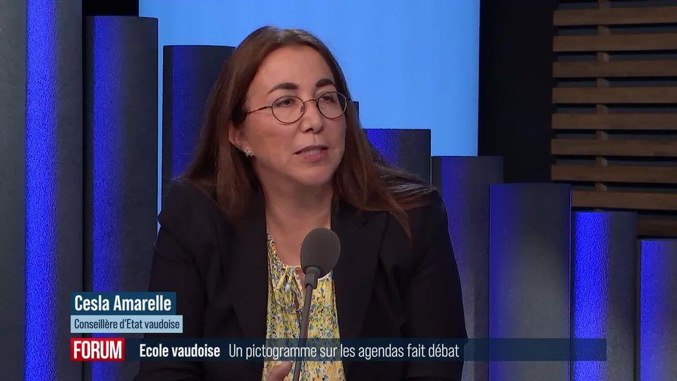 Un pictogramme sur les agendas vaudois fait débat: interview de Cesla Amarelle (vidéo) [RTS]