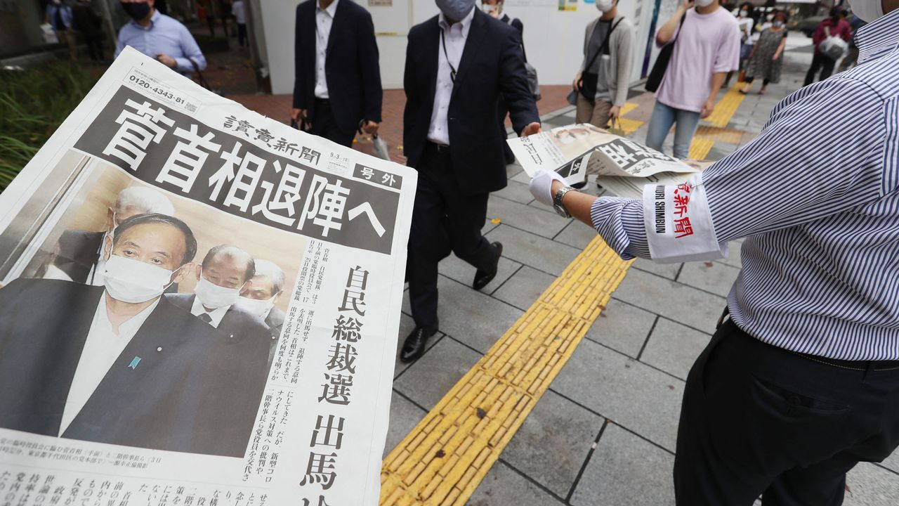 Le Premier ministre japonais Yoshihide Suga a créé la surprise vendredi en annonçant qu'il ne se représenterait pas à la tête de son parti lors d'une élection interne prévue fin septembre, rebattant ainsi totalement les cartes du pouvoir au Japon. [RYOICHIRO KIDA - THE YOMIURI SHIMBUN VIA AFP]
