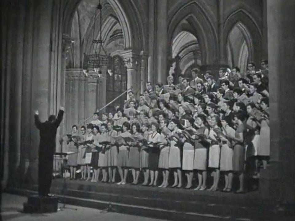 Choeur de l'Université de Lausanne sous la direction de Michel Corboz, cathédrale de Lausanne. [RTS]