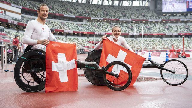 A eux deux, Marcel Hug et Manuela Schär ont remporté 9 médailles à Tokyo. [Ennio Leanza - Keystone]