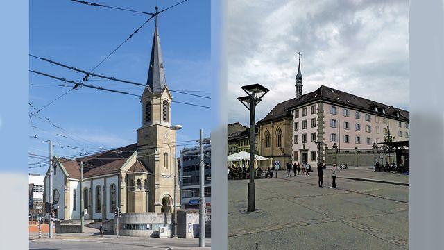 Temple et Eglise Ste Ursule, Fribourg. Photo transmise par Grégory Roth pour l'émission Célébratio oecuménique du 05.09.21 [ J. K. Bremen / G. Roth - Wikimedia]