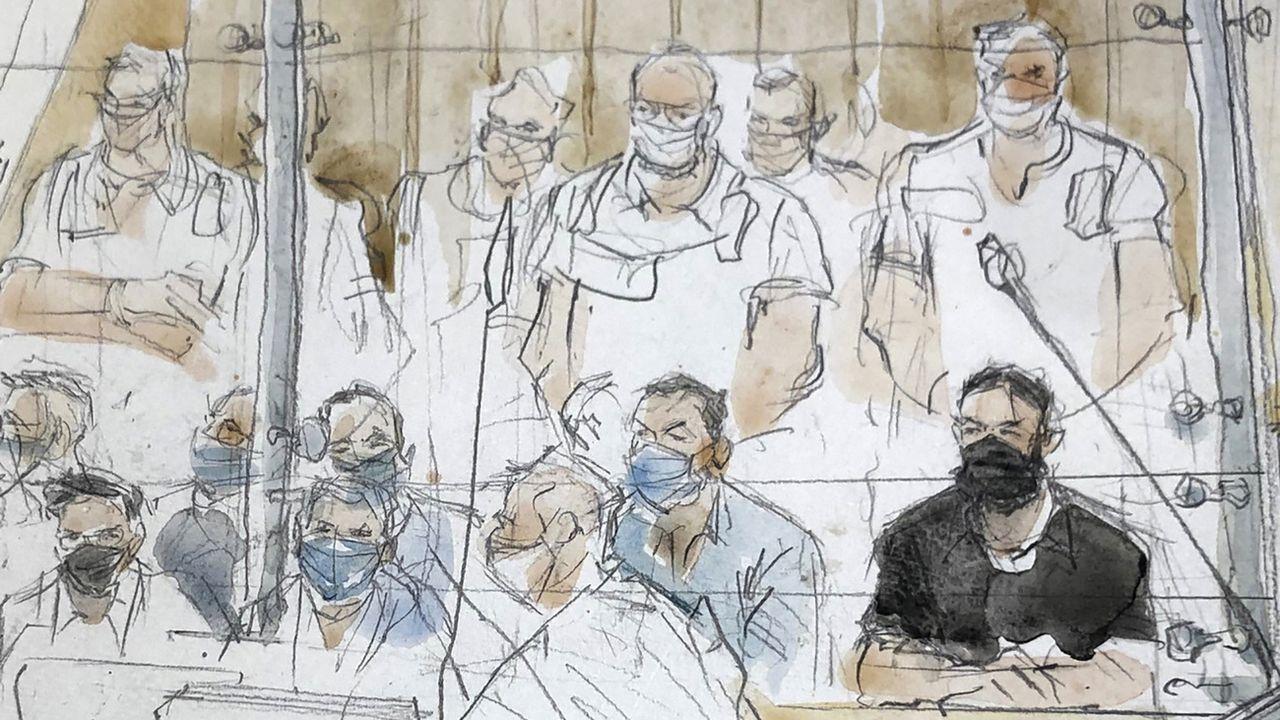 Un dessin montrant Salah Abdeslam au tribunal, à Paris le 8 septembre 2021. [Noelle Herrenschmidt - Keystone/AP Photo]