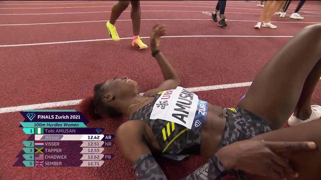Finale, 100m haies dames: victoire d'Amusan (NIG), Ditaji Kambungji (SUI) finit 8e [RTS]