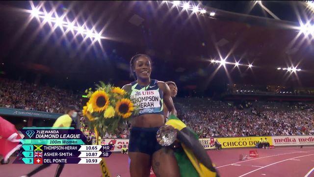 Finale, 100m dames: Thompson (JAX) remporte la course, Del Ponte (SUI) se classe 3e et Mujinga Kambundji (SUI) finit 5e [RTS]