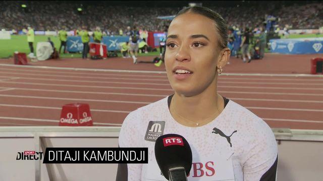 Finale, 100m haies dames: Ditaji Kambungji (SUI) au micro de la RTS après sa course [RTS]