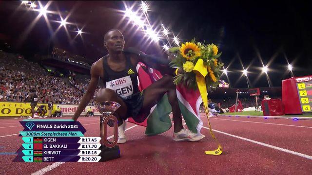 Finale, 3000m steeplechase messieurs: Kigen (KEN) gagne devant El Bakkali (MAR) 2e [RTS]