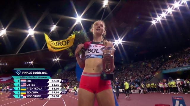 Finale, 400m haies dames: Bol (NED) s'impose, Sprunger (SUI) finit 8e [RTS]