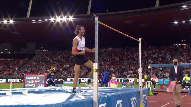 Finale, saut en hauteur messieurs: Tamberi (ITA) gagne le concours avec un saut de 2.34m [RTS]