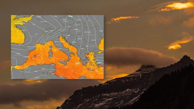 Températures de l'eau à la surface de la Méditerranée, le 13 septembre 2021 [Daniel Aebersold - Copernicus/windy.com]