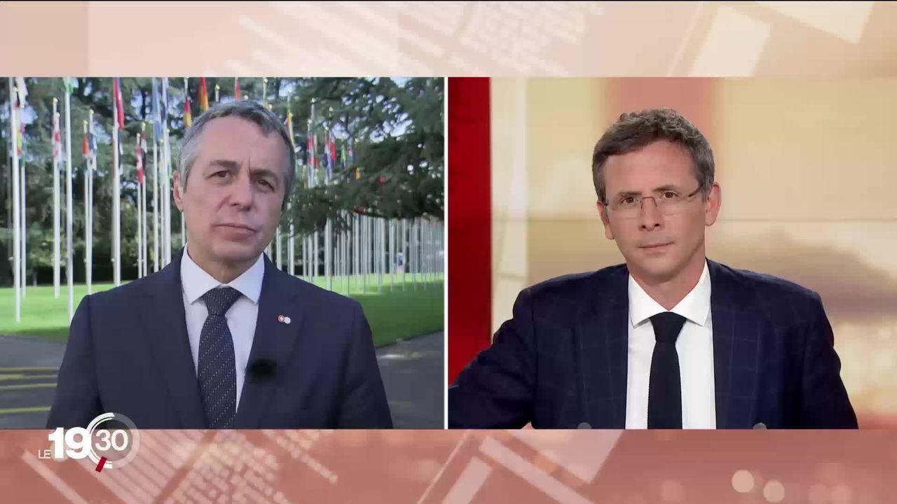 Les réactions d'Ignazio Cassis, conseiller fédéral en charge des affaires étrangères. [RTS]