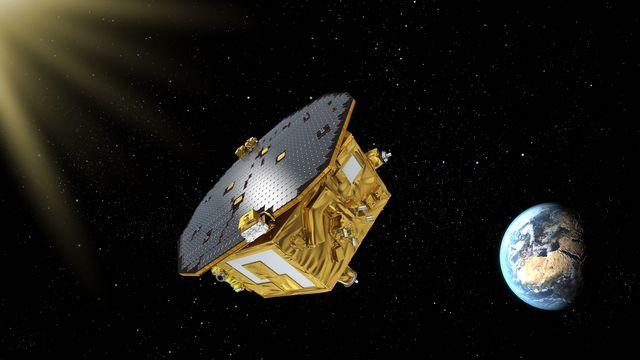 Vue d'artiste d'un module spatial de la mission Lisa [ESA / AFP]