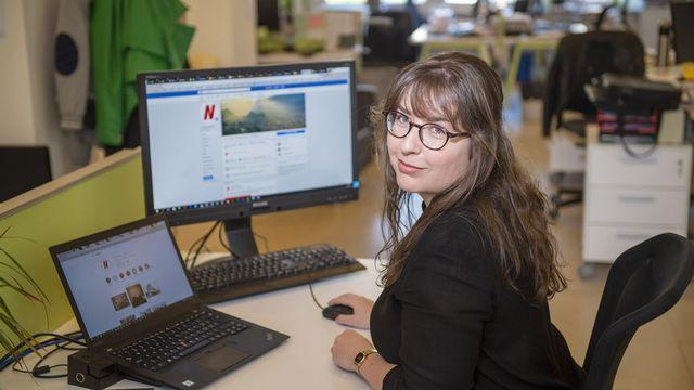 """Julie Collet, responsable des réseaux sociaux du quotidien valaisan """"Le Nouvelliste"""". [Sacha Bittel - Le Nouvelliste ]"""